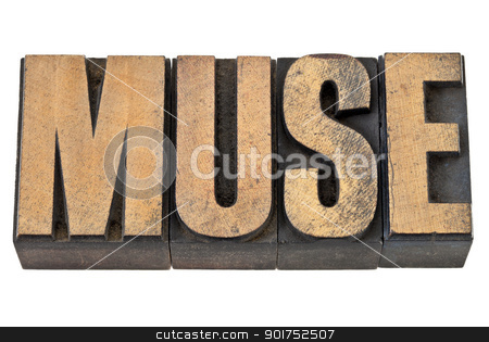 muse word in wood type stock photo, muse - art and inspiration concept - isolated text in vintage letterpress wood type by Marek Uliasz