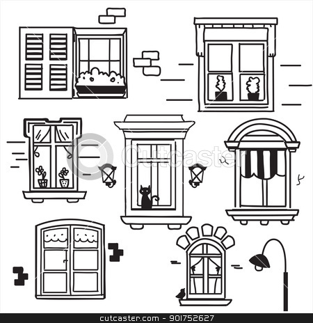 Hand drawn windows stock photo, Hand drawn windows, vector illustration by kariiika