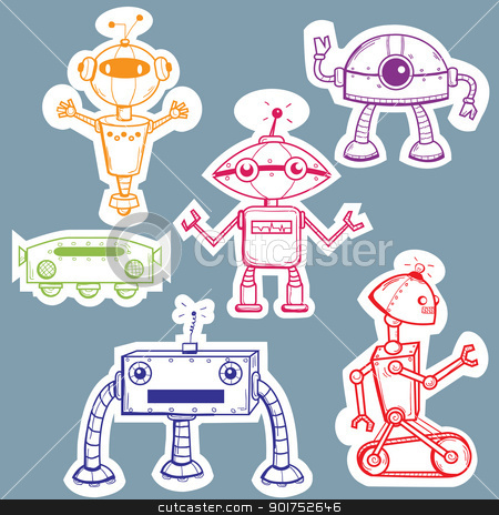 Robot stickers stock photo, Robot stickers, vector illustration by kariiika