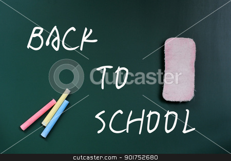 Back to School stock photo, Back to School written on a blackboard, with eraser and chalk by John Young