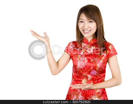 Happy Chinese New Year. stock photo, Chinese Asian woman in Traditional Chinese Cheongsam gesturing. by szefei
