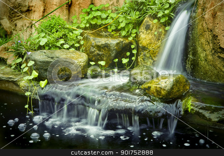 Japanese garden waterfalls stock photo, Japanese garden waterfalls, slow shutter.   by szefei