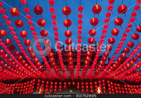 Lanterns. stock photo, Oriental lanterns display at temple. by szefei