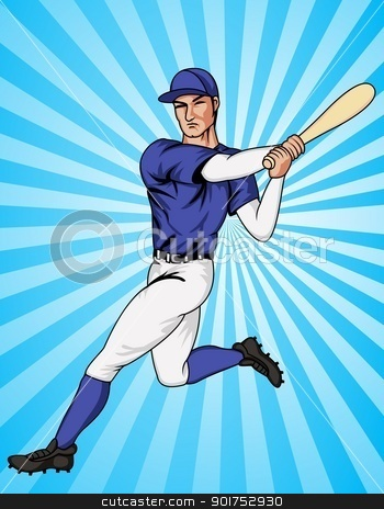 Baseball player  stock vector clipart, Vector Illustration Of  by Surya Zaidan