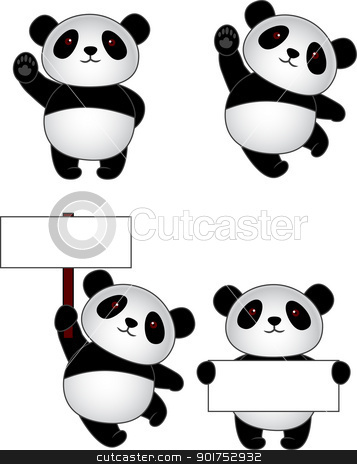 Funny panda cartoon stock vector clipart, Vector Illustration Of Funny panda cartoon by Surya Zaidan