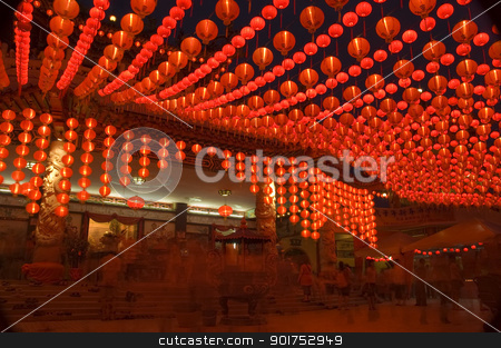 Lanterns. stock photo, Oriental lanterns display at temple. by szefei