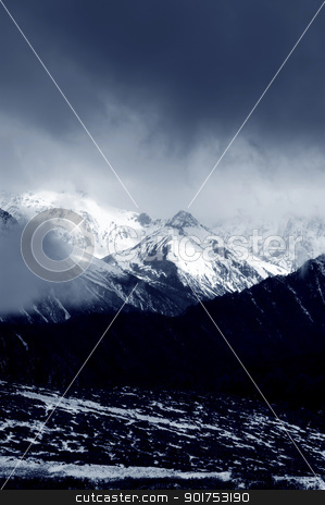 winter mountain stock photo, Scenic winter mountain landscape 