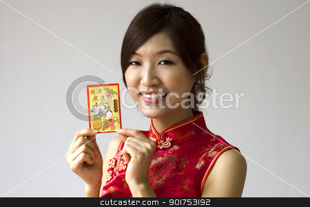 Chinese new year  stock photo, Asian female holding a red packet wishing you happy Chinese New Year by szefei