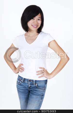 Asian Chinese. stock photo, Portrait of Asian Chinese female smiling. by szefei