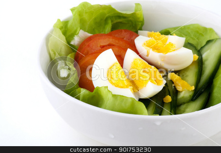 Fresh Salad stock photo, Bowl of fresh salad on white background by szefei
