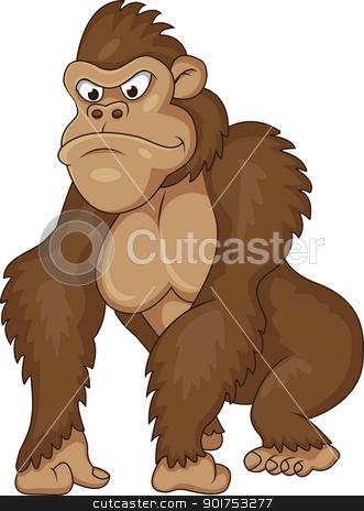 Gorilla cartoon stock vector clipart, Vector Illustration Of Gorilla ...