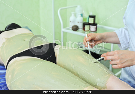 body mask stock photo, Woman having clay body mask apply by beautician by olinchuk