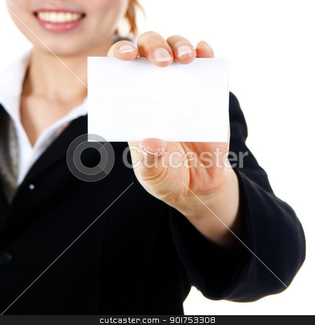 Blank business card. stock photo, Young Asian with blank business card in a hand. by szefei