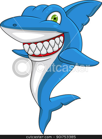 Happy shark  stock vector clipart, Vector Illustration Of Happy shark  by Surya Zaidan