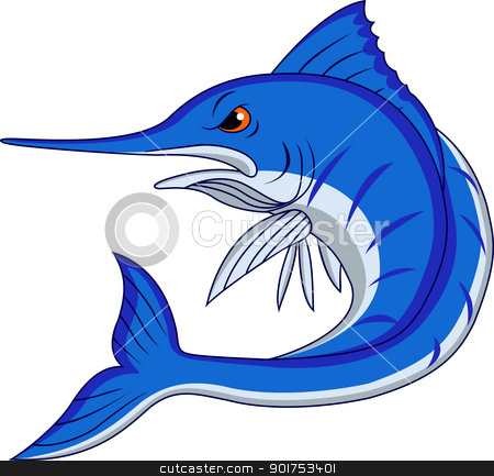 Blue marlin cartoon  stock vector clipart, Vector Illustration Of Blue marlin cartoon  by Surya Zaidan