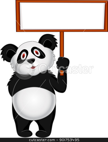 Panda with blank sign  stock vector clipart, Vector Illustration Of Panda with blank sign  by Surya Zaidan