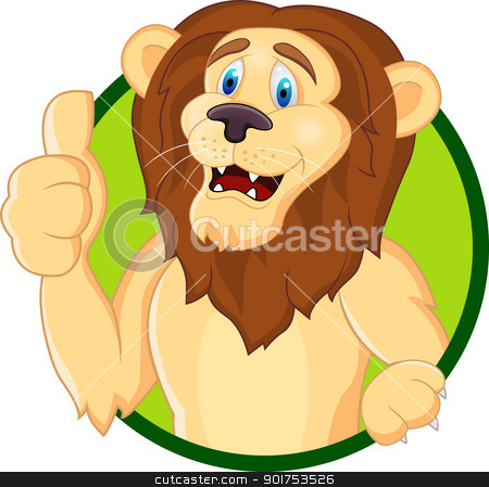 Lion cartoon with thumb up  stock vector clipart, Vector Illustration Of Lion cartoon with thumb up  by Surya Zaidan