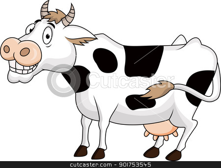 Funny cow cartoon stock vector clipart, Vector Illustration Of Funny cow cartoon by Surya Zaidan
