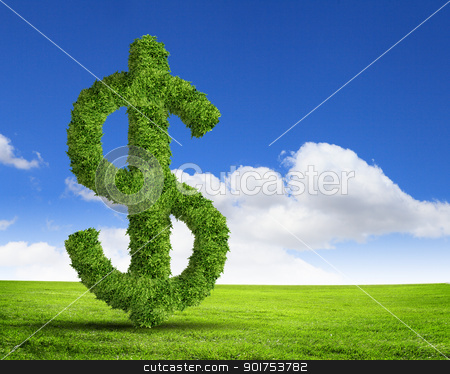 Green grass  US dollar symbol stock photo, Green grass  US dollar symbol against blue sky by Sergey Nivens
