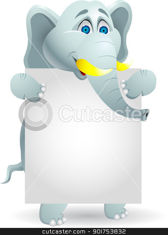 Elephant cartoon with blank sign  stock vector clipart, Vector Illustration Of Elephant cartoon with blank sign  by Surya Zaidan