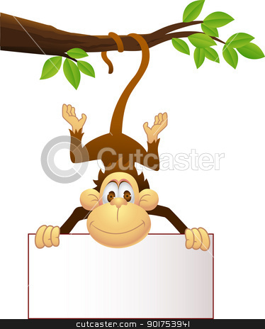 Monkey with blank sign  stock vector clipart, Vector Illustration Of Monkey with blank sign  by Surya Zaidan