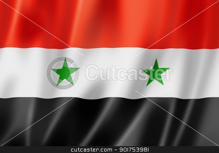 Syrian flag stock photo, Syria flag, three dimensional render, satin texture by Laurent Davoust