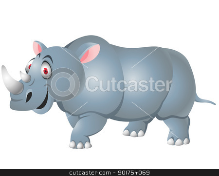 Rhino cartoon isolated  stock vector clipart, Vector Illustration Of Rhino cartoon isolated  by Surya Zaidan
