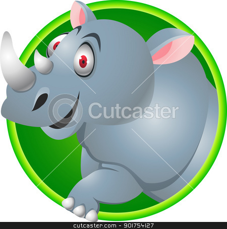 Rhino cartoon  stock vector clipart, Vector Illustration Of Rhino cartoon  by Surya Zaidan