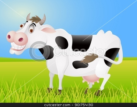 Cow cartoon  stock vector clipart, Vector Illustration Of Cow cartoon  by Surya Zaidan