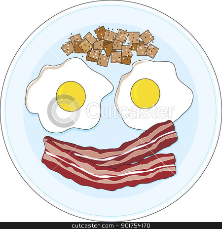 Bacon and Eggs stock vector clipart, A bacon and eggs breakfast on a plate,  forming of a smiley face.  by Maria Bell
