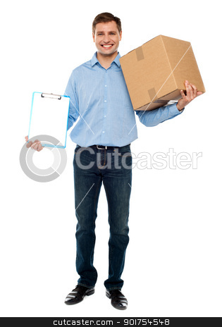 Accept carton please. Courier service stock photo, Handsome man carrying delivery carton and a clipboard by Ishay Botbol