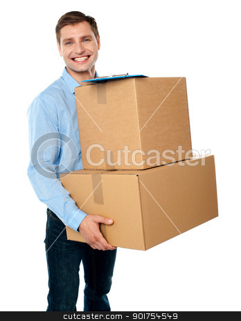 Kindly accept the delivery of boxes stock photo, Smart young man carrying boxes with clipboard placed above them by Ishay Botbol   