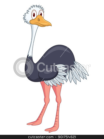 Ostrich cartoon stock vector clipart, Vector Illustration Of Ostrich cartoon by Surya Zaidan