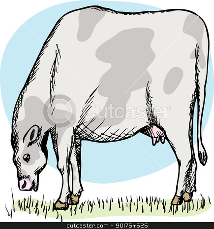 Fat Cow Grazing stock vector clipart, Illustration of cow grazing in a green field over white by Eric Basir