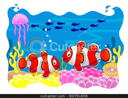 Clown fish cartoon  stock vector clipart, Vector Illustration Of Clown fish cartoon  by Surya Zaidan