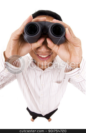 binocular  stock photo, Man holding a binocular isolated on white  by szefei