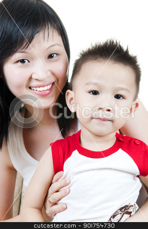 Asian Family.  stock photo, Happy smiling young mother and her son.  by szefei