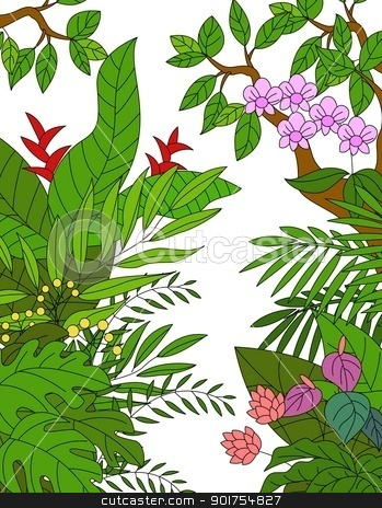 Tropical forest background  stock vector clipart, Vector Illustration Of Tropical forest background  by Surya Zaidan