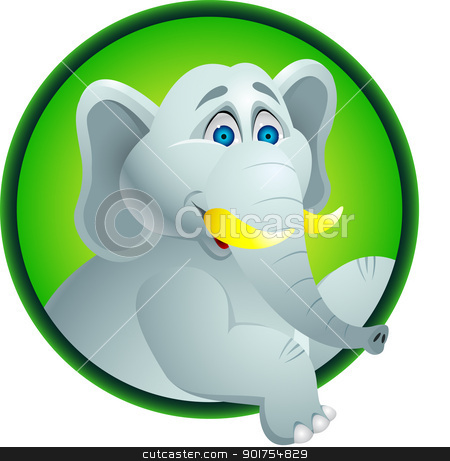 Elephant cartoon  stock vector clipart, Vector Illustration Of Elephant cartoon  by Surya Zaidan