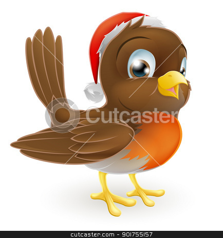 Robin bird in a Santa Hat stock vector clipart, An illustration of a cartoon Christmas Robin in a Santa hat by Christos Georghiou