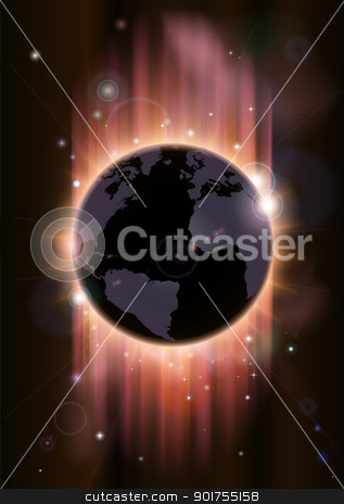 Futuristic globe concept illustration stock vector clipart, A futuristic world globe concept illustration with light rays and stars by Christos Georghiou