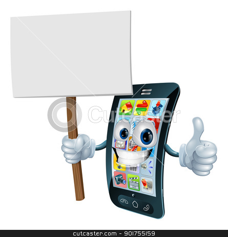 Announcement board sign mobile phone man stock vector clipart, Mobile phone mascot character holding an announcement board sign smiling and doing a thumbs up gesture by Christos Georghiou