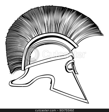 Black and White Ancient Greek Warrior Helmet stock vector clipart, Black and white illustration of a side on ancient Greek Warrior helmet, Spartan helmet, Roman helmet or Trojan helmet. by Christos Georghiou