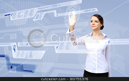 Businesswoman and touch screen technology stock photo, Young woman in business wear working with digital touch screen by Sergey Nivens