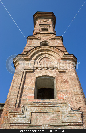 Old high brick tower. stock photo, High brick building from an old brick. by Yury Ponomarev