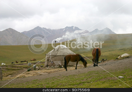 . stock photo, Kyrgyzstan. The horses on a background of a mountain landscape. by Yury Ponomarev