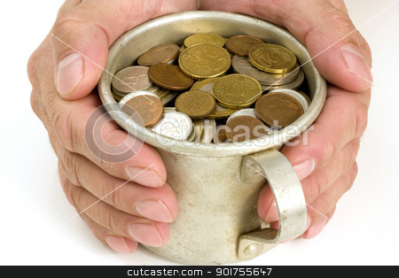 Old aluminum mug and coins. stock photo, The Male hands and aluminum mug with money. by Yury Ponomarev