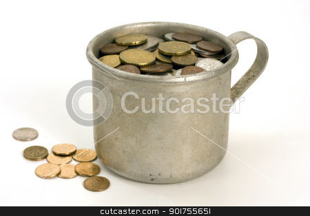 Old aluminum mug and coins. stock photo, Old aluminum mug and coins  on white background. by Yury Ponomarev