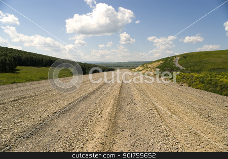 Highway. stock photo, Construction of a new highway. by Yury Ponomarev
