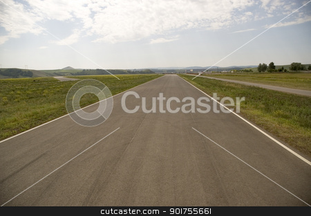 Empty highway. stock photo, Empty highway, clouds and the blue sky by Yury Ponomarev